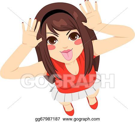 Vector Illustration - Teen girl mocking  EPS Clipart gg67987187