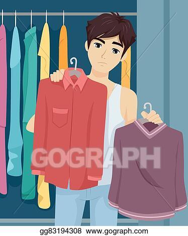 Vector Illustration Teen Guy Wardrobe Choose Clothes Eps Clipart