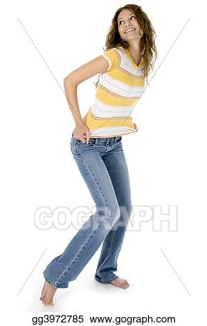 teen girl in jeans