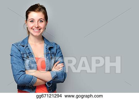 Stock Photos Teenage Girl Standing With Crossed Arms