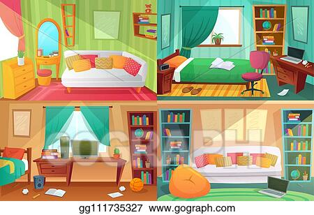 Vector Art - Teenagers bedroom. student cluttered room ...