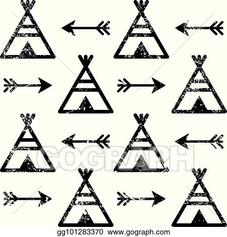Eps Illustration Teepee And Arrows Seamless Vector Pattern Aztec