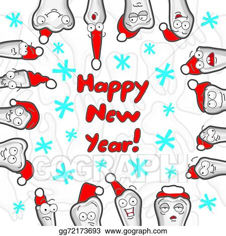 EPS Vector - Teeth. happy new year greeting card. Stock Clipart ...