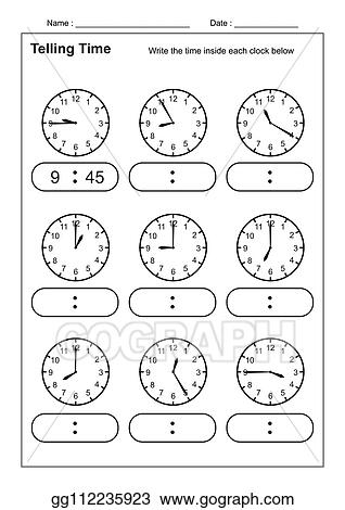 Vector Art - Telling time telling the time practice for ...