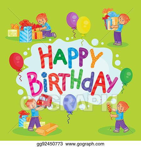 Stock Illustrations Template For Happy Birthday Greeting Card