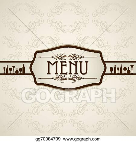 vector art template for menu card with cutlery clipart drawing