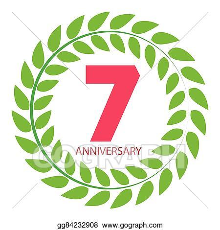 Vector Stock - Template logo 7 anniversary in laurel wreath vector ...