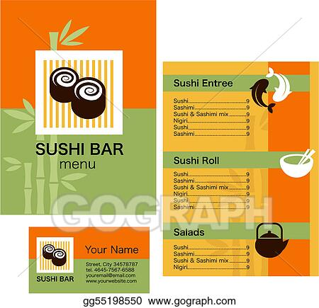 Vector stock template of sushi menu and business card stock clip template of sushi menu and business card cheaphphosting Choice Image