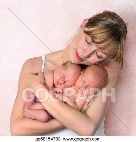 4f96a3b8a Stock Images - Tender mother with newborn twin babies. Stock ...