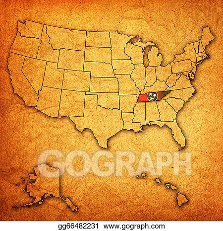 Drawing - Tennessee on map of usa. Clipart Drawing gg66482231 - GoGraph