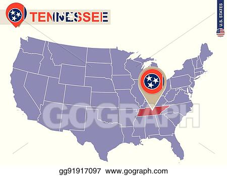 EPS Vector - Tennessee state on usa map. tennessee flag and map ...