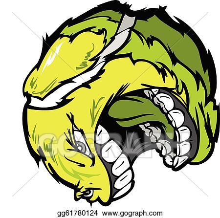 vector illustration - tennis ball screaming face cartoon vector