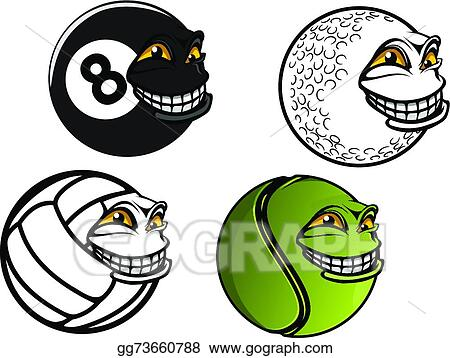 Vector Art Tennis Golf Volleyball Billiard Cartoon Balls Eps Clipart Gg73660788 Gograph