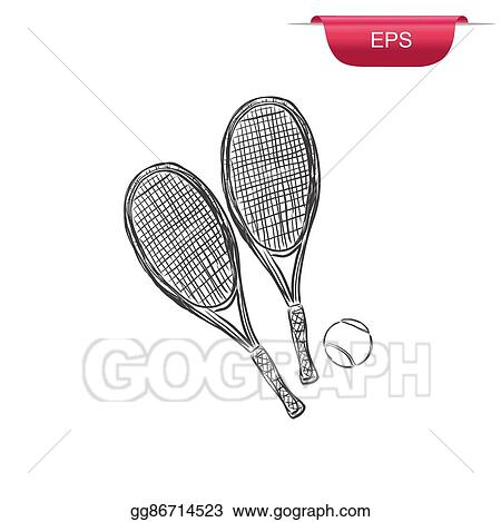 Vector Art Tennis Rackets And Ball Sketch Clipart Drawing
