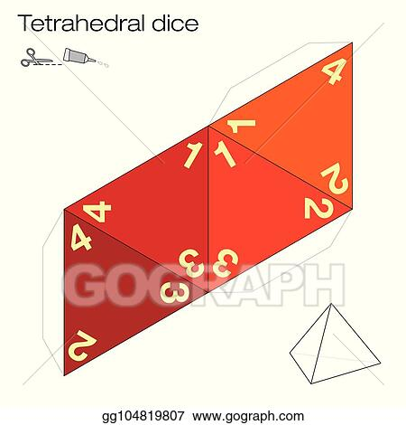 Vector Illustration - Tetrahedral dice platonic solid template ...