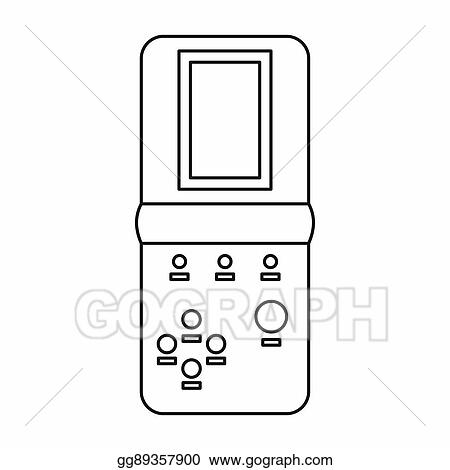 Stock Illustration Tetris Portable Game Icon Outline Style - Game outline