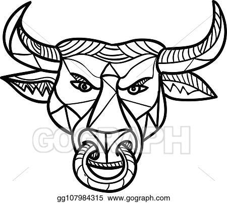 Eps Illustration Texas Longhorn Bull Head Mosaic Vector Clipart Gg107984315 Gograph
