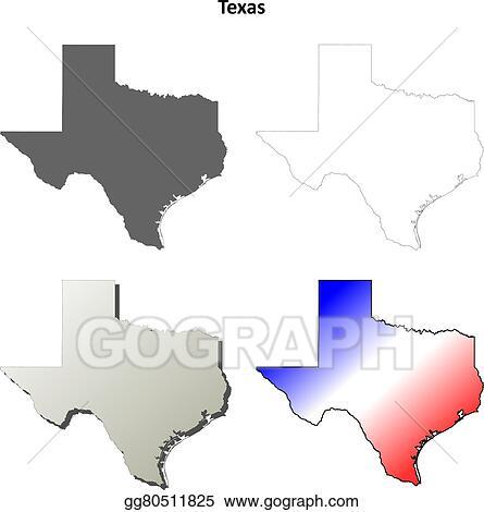 Outline Of Texas Map.Clip Art Vector Texas Outline Map Set Stock Eps Gg80511825 Gograph
