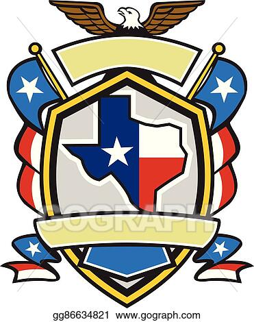 Coat of arms american. Vector art texas state