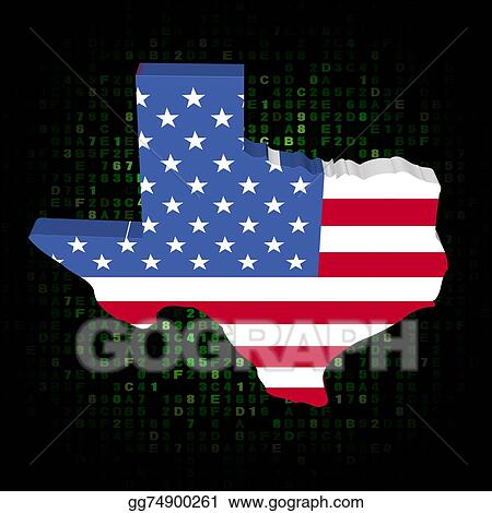Clip Art - Texas state map flag on hex code illustration. Stock ...