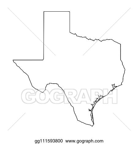 Vector Clipart Texas State Of Usa Solid Black Outline