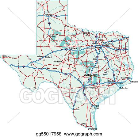 Vector Art Texas State Road Map EPS Clipart Gg GoGraph - Us map eps