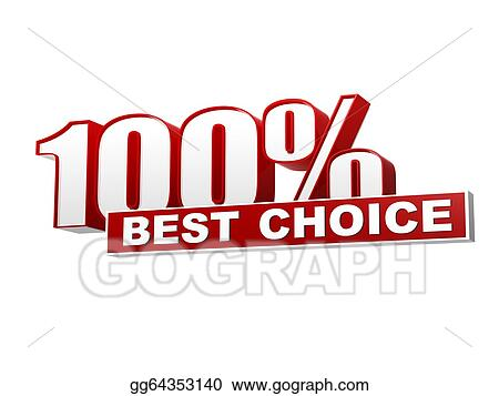 Clip Art - Text 100 percentages best choice 3d red white