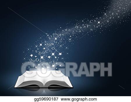 Clip Art Texte Etoile Et Neige Sur Livre Ouvert
