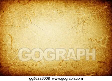 Stock Illustration Texture Of Old Paper With Zodiac Signs Abstract Astrology Theme Background Clipart Drawing Gg56226008 Gograph
