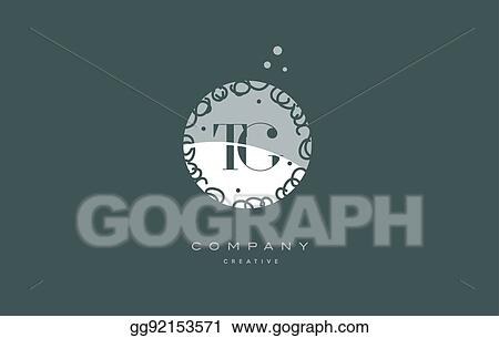 Vector Illustration Tg T G Monogram Floral Green Alphabet