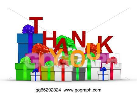 Stock Illustration Thank You On Top Of Gift Boxes Clip Art