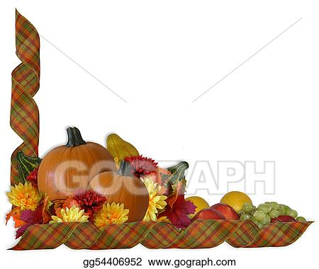 stock illustration thanksgiving autumn fall ribbons border rh gograph com  thanksgiving border clipart black and white
