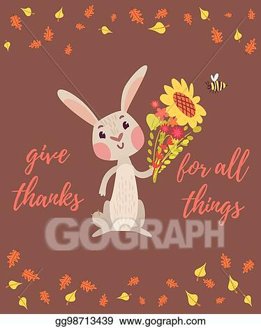 Vector stock thanksgiving card with cute rabbit stock clip art thanksgiving card with cute rabbit m4hsunfo