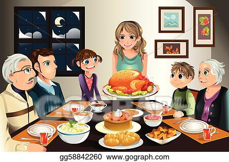 Vector Art - Thanksgiving family dinner. Clipart Drawing ...