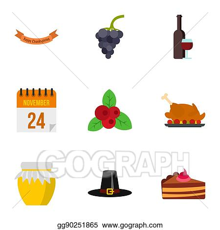 clipart thanksgiving feast icons set flat style stock rh gograph com