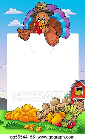 Stock Illustration - Thanksgiving frame with turkey 2. Clipart ...