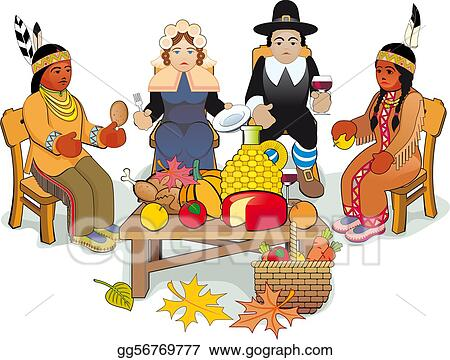 vector clipart thanksgiving pilgrims and indian couple vector rh gograph com Horn of Plenty Clip Art Thanksgiving Clip Art
