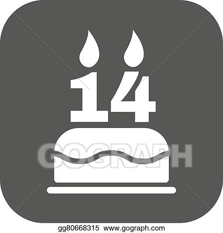 Vector Illustration The Birthday Cake With Candles In The Form Of