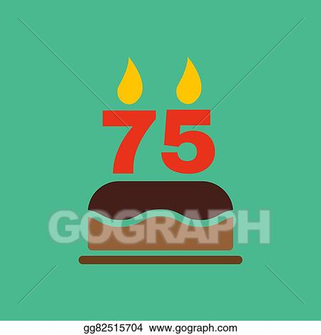 The Birthday Cake With Candles In Form Of Number 75 Icon Symbol Flat