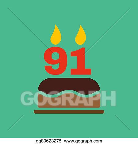 The Birthday Cake With Candles In Form Of Number 91 Icon Symbol Flat