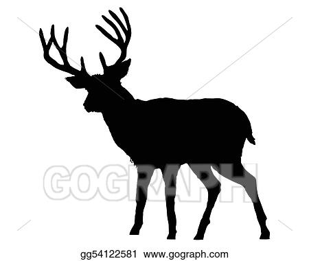 stock illustration the black silhouette of a deer on white