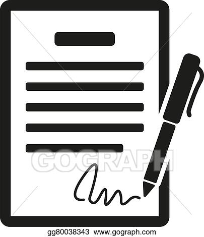 vector art the contract icon agreement and signature