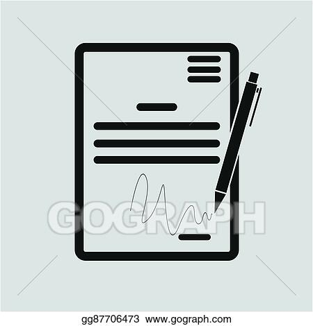 Vector Illustration The Contract Icon Agreement And Signature