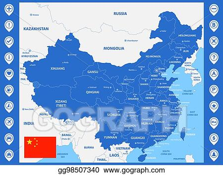 vector illustration the detailed map of china with regions or