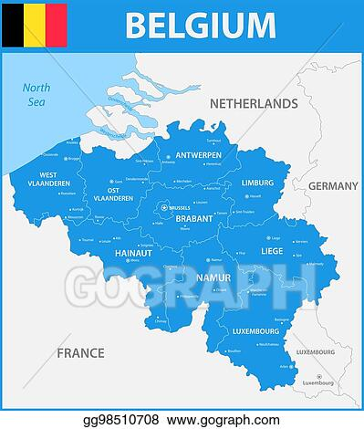 Map Of France Regions And Cities.Vector Stock The Detailed Map Of The Belgium With Regions Or