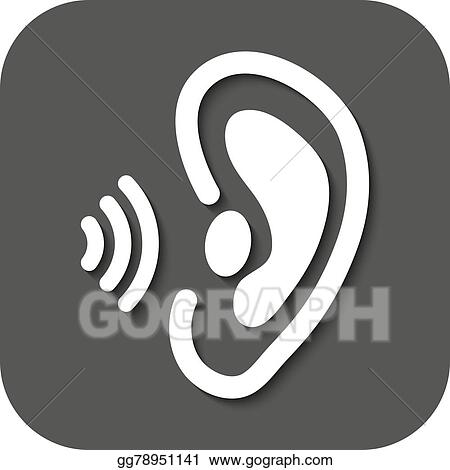 vector illustration the ear icon sense organ and hear understand