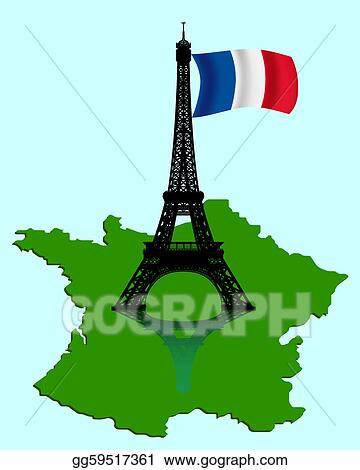 France Map Flag.Eps Vector The Eiffel Tower With A Map And Flag Of France Stock