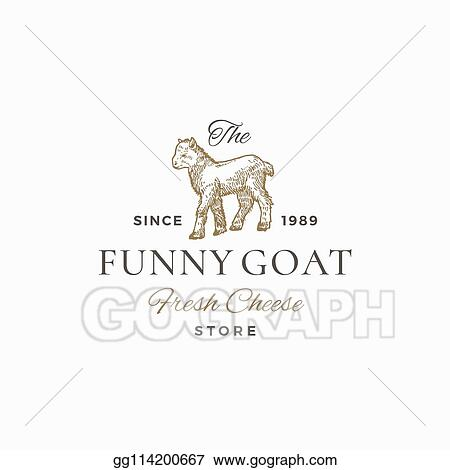 Vector Illustration - The funny goat abstract vector sign