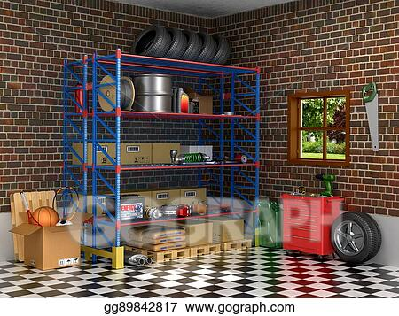 Stock Illustration The Interior Suburban Garage With Car Parts 3d