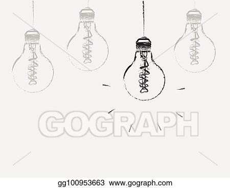 vector stock the outline of a burning light bulb on the background of extinct light bulbs clipart illustration gg100953663 gograph gograph